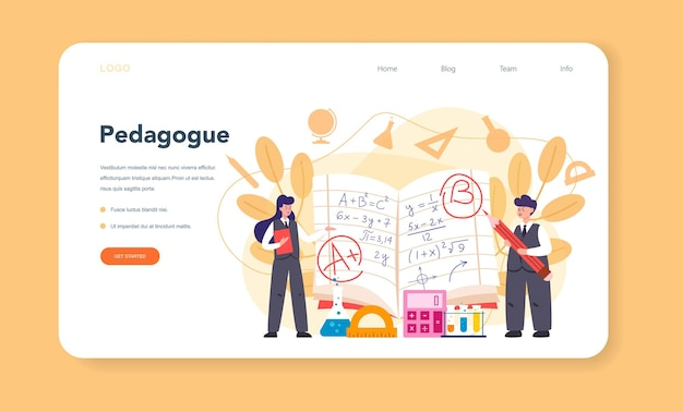 Teacher web template or landing page. profesor standing in front of the blackboard. school or college workers with professional discipline tools.