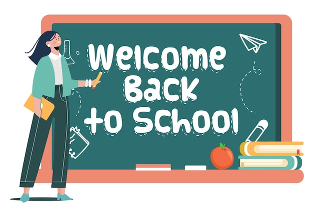 Teacher welcomes back to school concept