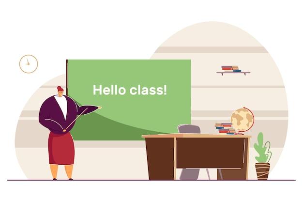 Учитель приветствует учеников обратно в школу. плоские векторные иллюстрации. профессора, стоящие возле доски с указателем в классе. школа, образование, концепция обучения для дизайна баннера, целевая страница