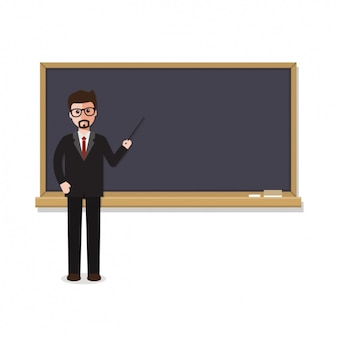 Teacher with a blackboard design