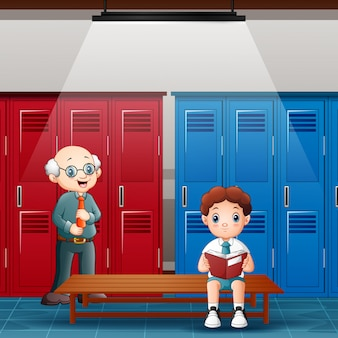 Teacher with boy is reading a book in the locker room