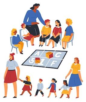 Учитель с детьми изучает алфавит, играя