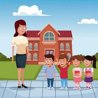 Teacher with kids at school