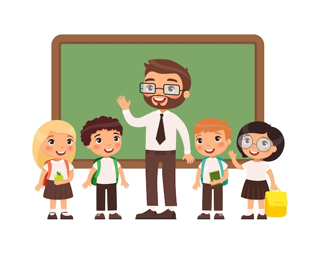 Teacher with pupils in classroom happy primary schoolers and male teacher  near blackboard