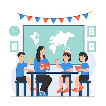 교실에서 함께 테이블에 앉아 책을 읽는 학생들과 교사