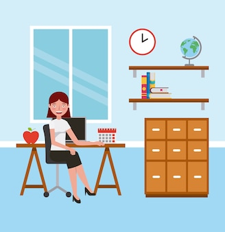 Teacher woman in classroom with desk cabinet learning