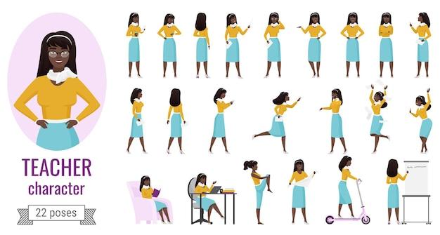 Учительница позирует с женским персонажем из мультфильма