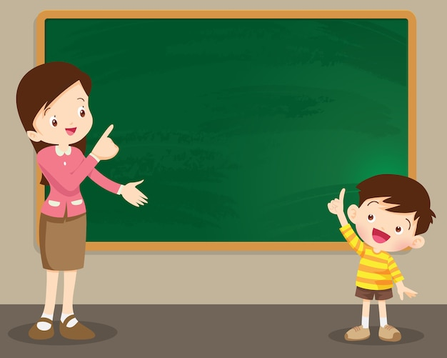 Teacher woman and studen boy standing in front of chalkboard