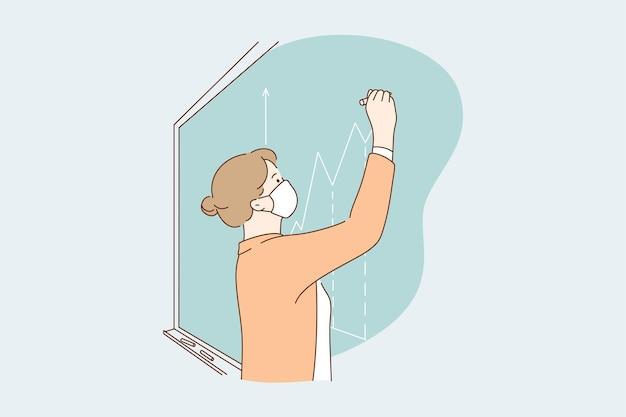 Teacher working during coronavirus pandemic concept