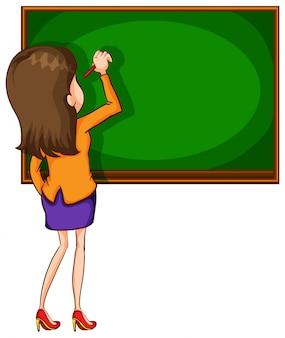 Teacher writting on blackboard