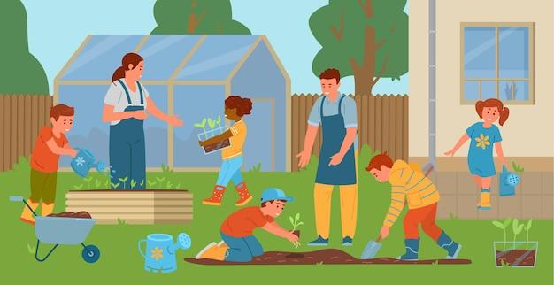 裏庭でガーデニングをする教師と子供たち 苗を植える子供たち