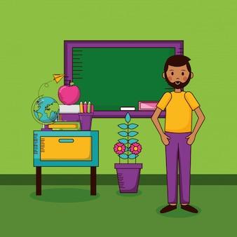 学校の教室での教師のキャラクター