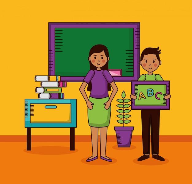 Teachers character in school classroom