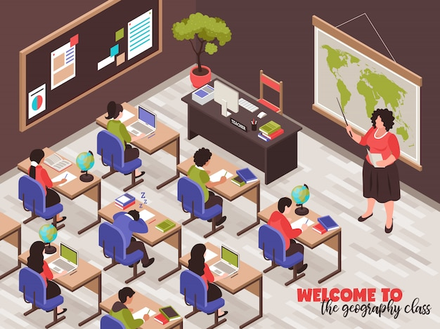 Teachers and classroom  with geography class symbols isometric