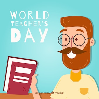 Teachers day background with teacher holding book