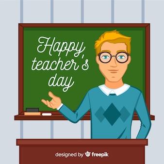 Учитель день фон с учителем перед классной доской