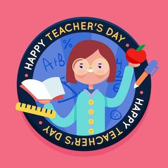 教師の日お祝いフラットデザイン