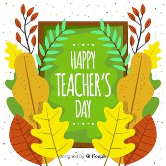 Concetto di giornata degli insegnanti con sfondo design piatto