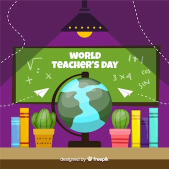 Teachers day concept with flat design background