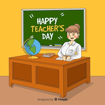 Teachers day concept with hand drawn background
