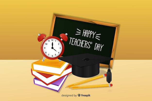 Teachers day concept with realistic background