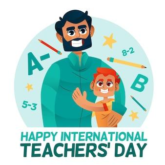 Teachers day drawn illustration