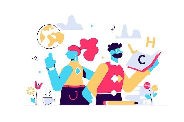 教師の日イラスト。平らな小さな世界の教育者の休日の人の概念。 10月の学業のお祝いの時間。大学や学校の職業の象徴的な感謝の挨拶の時間。