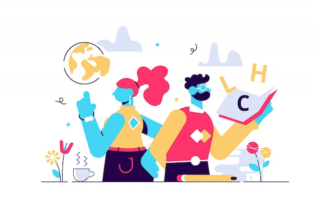 Teachers day illustration. flat tiny world educators holiday persons concept. october academic occupation celebration time. university and school profession symbolic appreciation greeting time.