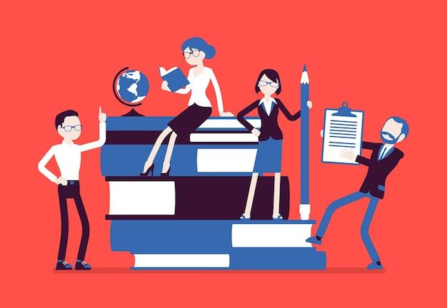 Группа учителей в гигантских книгах