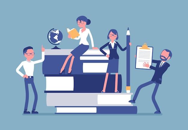 Teachers group at giant books illustration