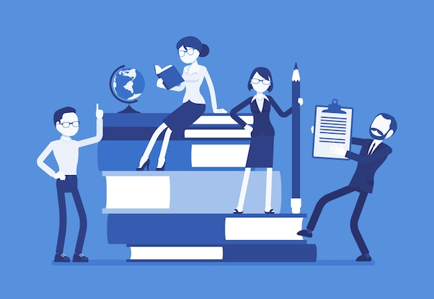 Teachers group at giant books. school or college workers with professional discipline tools, university staff poster. science and education concept.  illustration, faceless characters