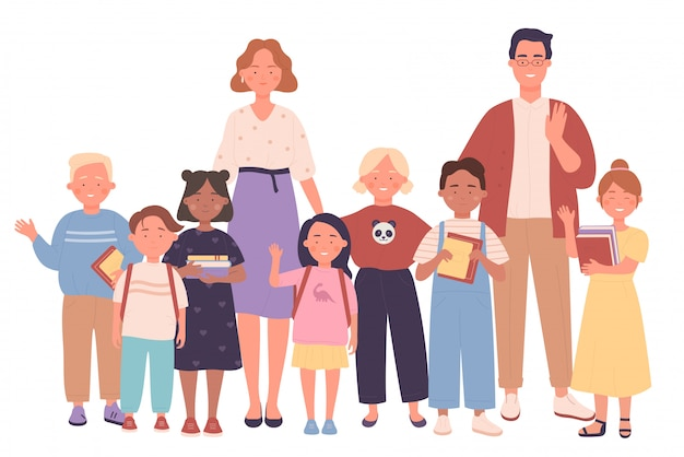 Teachers and kids people together