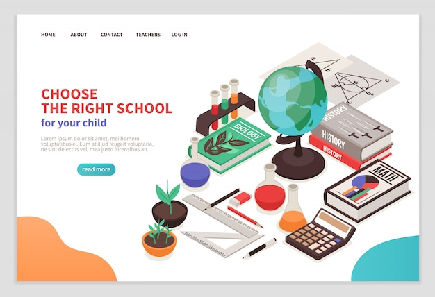 Teachers and school page with education symbols isometric