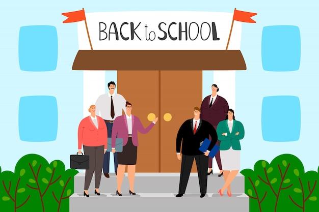 Учителя стоят на ступеньках школы. добро пожаловать обратно в школу иллюстрации