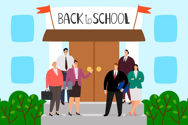 Teachers stand on the steps of the school. welcome back to school illustration