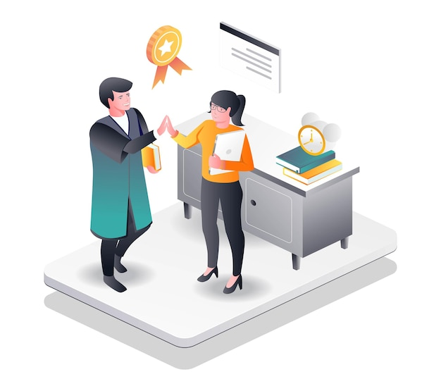 Teachers and students highfive for graduating in isometric illustration