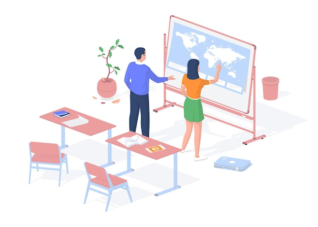 Teaching geography school. teenager looking for country world map stand. teacher tells her about coordinates of earth. school desks with textbooks and drawings. vector realistic isometry.