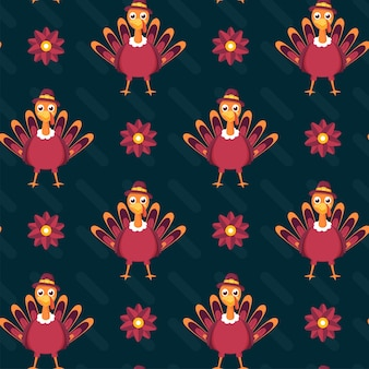 Teal background decorated with flowers and cartoon turkey birds illustration.