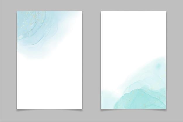 ティールブルーとミント色の液体水彩背景