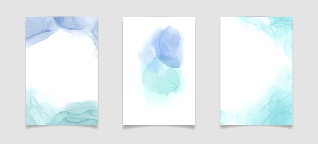 Teal blue and mint colored liquid watercolor background luxury minimal turquoise hand drawn fluid al