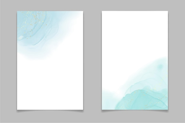 Teal blue and mint colored liquid watercolor background