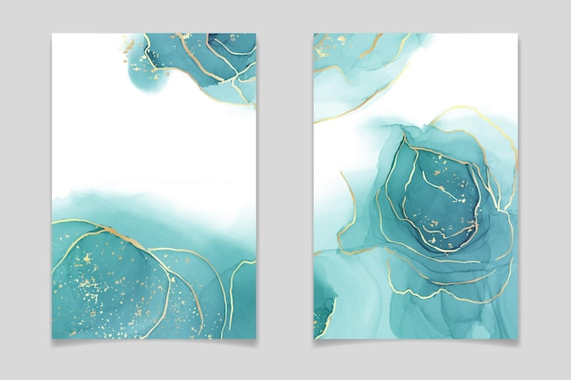 Teal blue and mint colored liquid watercolor poster set with gold stains and dots