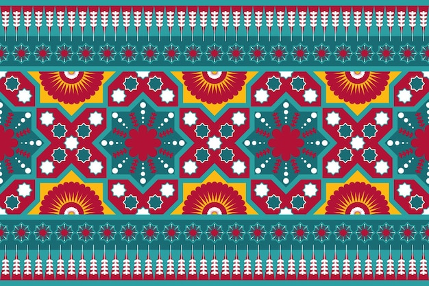 Teal red yellow vintage floral ethnic geometric oriental seamless traditional pattern. design for background, carpet, wallpaper backdrop, clothing, wrapping, batik, fabric. embroidery style. vector.