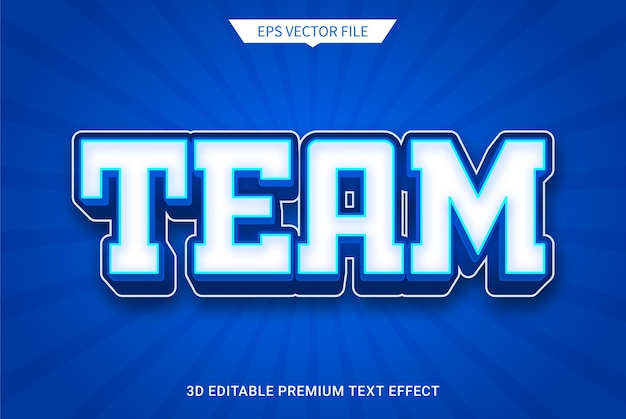 Team 3d editable text style effect premium vector