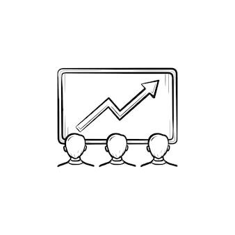 팀 성과 손으로 그린 개요 낙서 벡터 아이콘입니다. 흰색 배경에 격리된 인쇄, 웹, 모바일 및 인포그래픽을 위한 팀 스케치 삽화를 가진 사업가입니다.