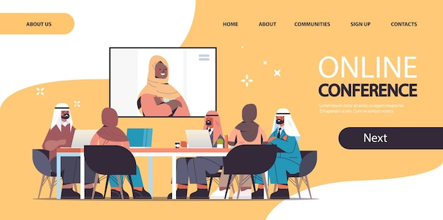 Team of arabic doctors having video conference with female black muslim doctor medicine healthcare concept horizontal landing page
