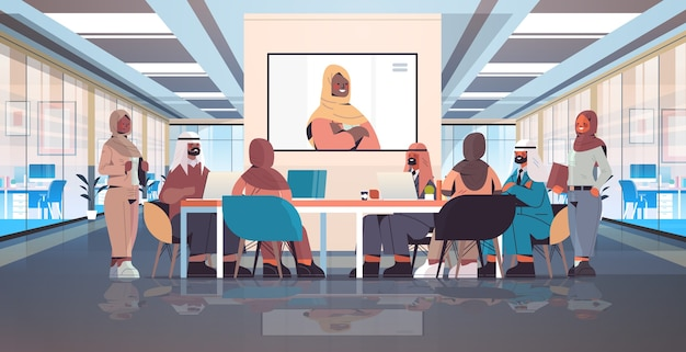 Team of arabic medical specialists having video conference with female black muslim doctor medicine healthcare concept hospital meeting room interior horizontal full length  illustration