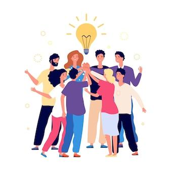 Командный мозговой штурм. команда менеджеров по успеху, творческие люди имеют новую идею. офисный персонал, менеджеры или молодой запуск бизнеса. дай пять друзей, дружба или партнерство векторные иллюстрации