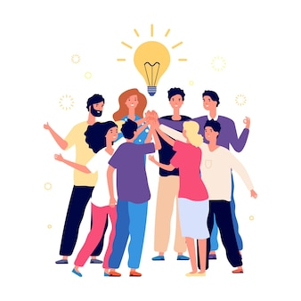 Team brainstorming. success managers team, creative people have new idea. office staff, managers or young business startup. friends high five, friendship or partnership vector illustration