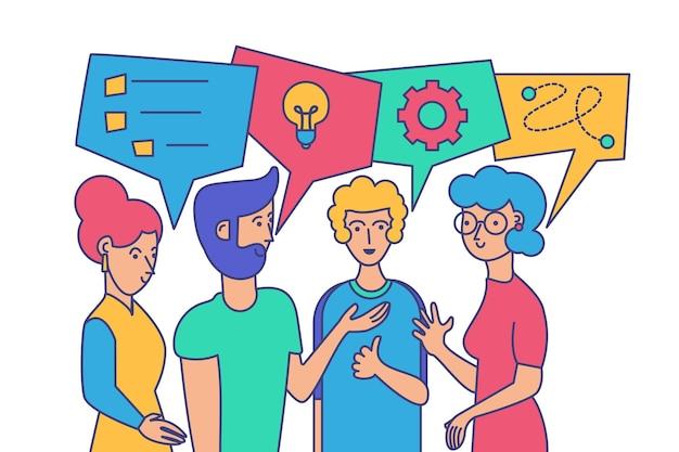 チームビルディング、ブレインストーミングのベクトル図。問題の解決策を議論する漫画の同僚